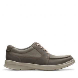 Clarks Mens Cotrell Lane Olive Combi Leather Shoes